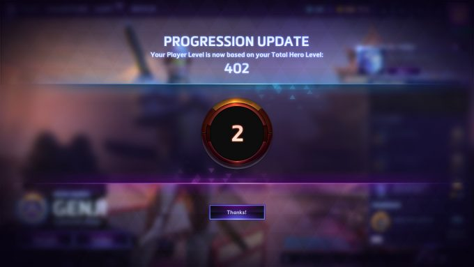 The new combined account/hero level in Heroes of the Storm