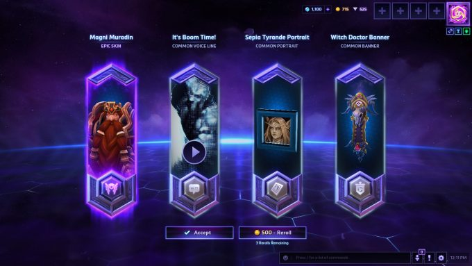 Opening a loot box in Heroes of the Storm