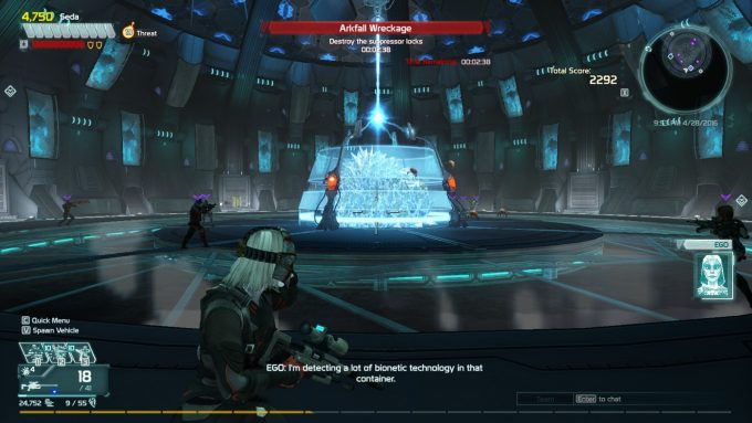 A group of players take on an Arkbreak in Defiance