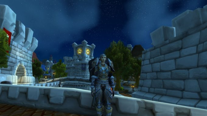 A paladin character showing off her snazzy armor in World of Warcraft