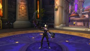 A high level character shows off their gear in World of Warcraft