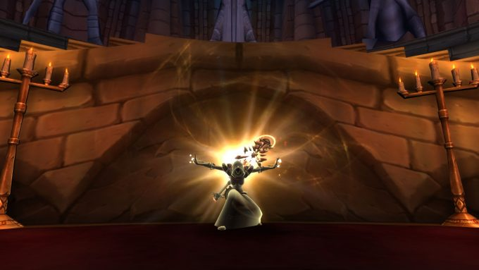 A priest using the holy nova spell in World of Warcraft