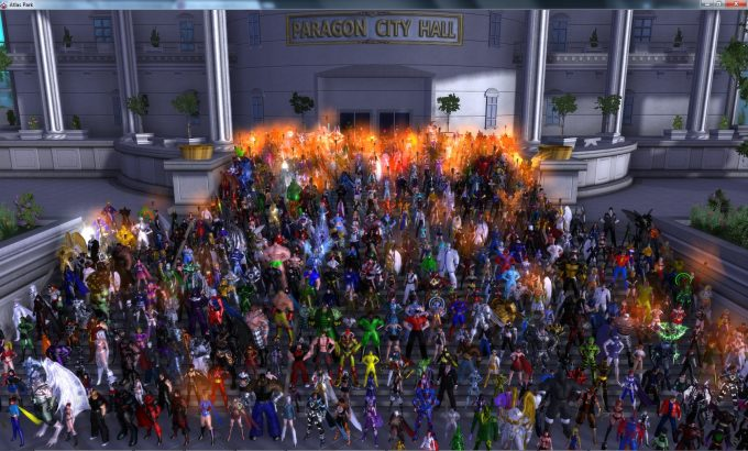 A rally of City of Heroes players