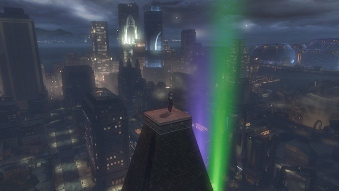 A villain broods over Gotham City in DC Universe Online