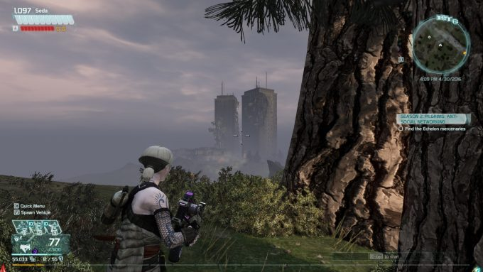 A solo player in the MMOFPS Defiance