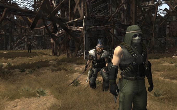 A promotional screenshot from the post-apocalyptic MMORPG Fallen Earth