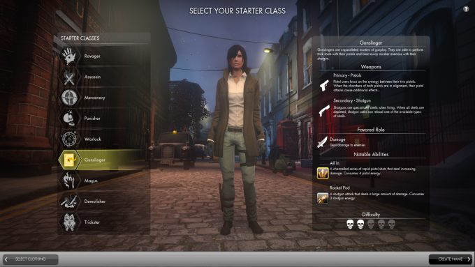 The character creator in Secret World Legends