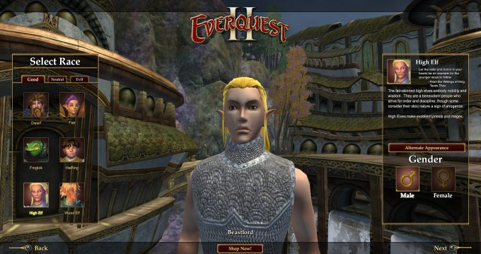 Race selection in EverQuest II