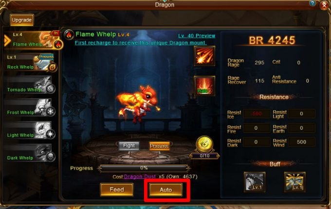 dragon awaken auto button
