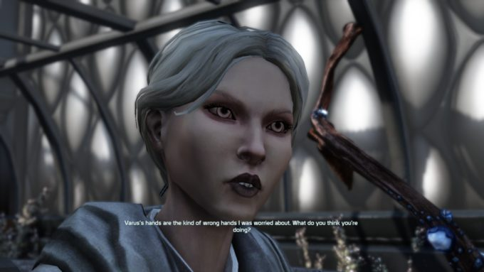 A story cutscene from the MMO shooter Defiance