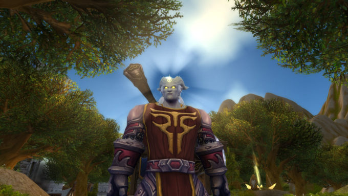 A Lightforged Draenei character in World of Warcraft