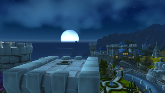 The moon rising over Stormwind in World of Warcraft