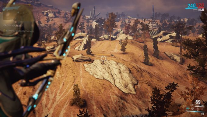 Hunting hostile mobs in Warframe's open world Plains of Eidolon zone