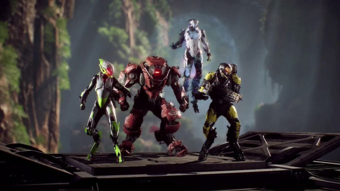 A party of player Javelins in the MMO shooter Anthem
